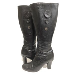 Retro Chunky Heel Leather Knee Boots Mixed Buttons